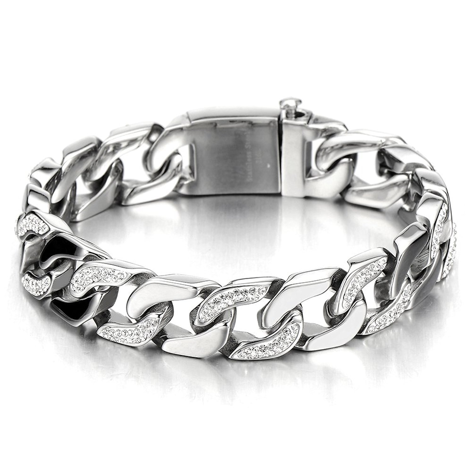 Top Quality Men's Stainless Steel Curb Chain Bracelet Silver Color High Polished with Cubic Zirconia COOLSTEELANDBEYOND MB-879A