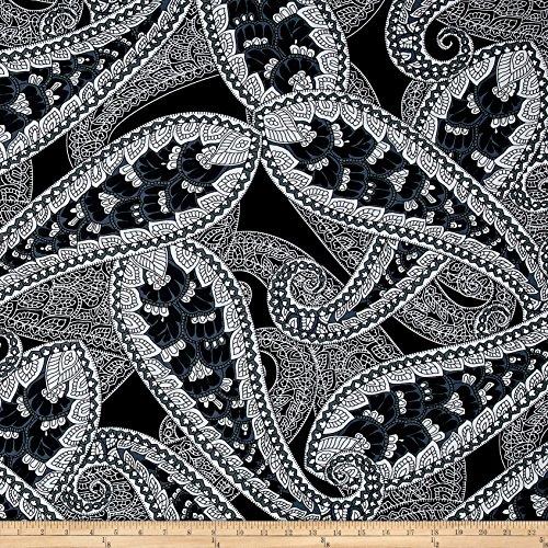 Black White Paisley Fabric - 8