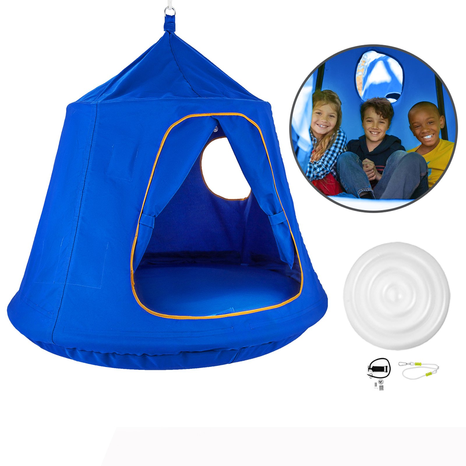 Mophorn Hanging Tree Tent 45 diam x 54 H Hanging Tent Swing Tent Waterproof Hanging Tree&Ceiling Hammock Tent Green Kids Outdoor Tents Playhouses (Blue) by Mophorn (Image #9)