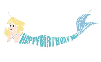 c7c37f4c2615f Amazon.com: Mermaid Happy Birthday Banner Decor Decorations Under ...