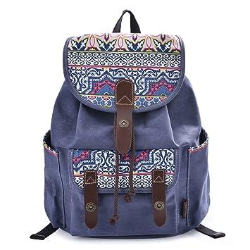 0d51e36723e DGY Fabric Backpack School Rucksack Cute Canvas Backpack for Girls 137 blue