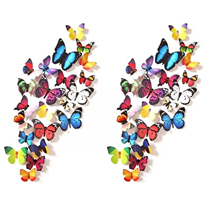 Amazon Com Prefer Green 38 Pcs 3d Colorful Butterfly Wall Stickers