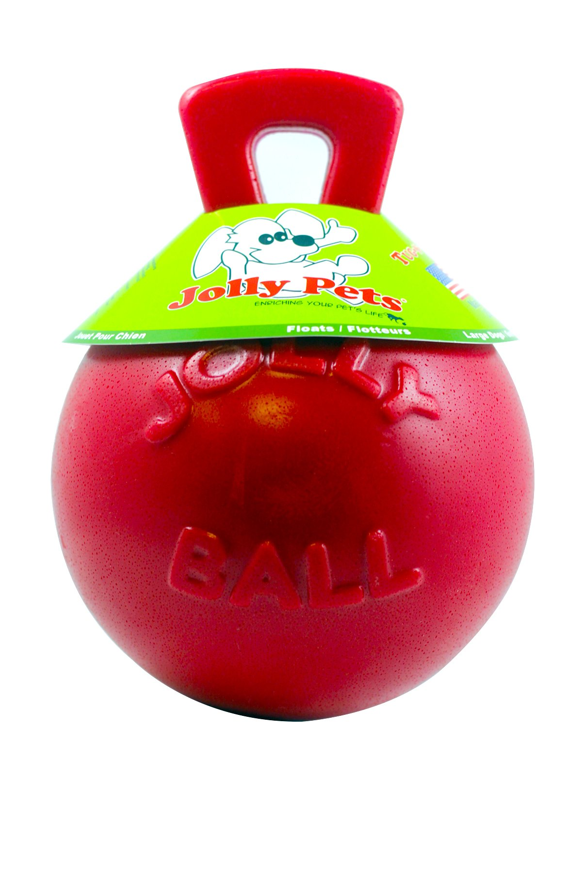 Jolly Pets Tug-n-Toss - Heavy Duty Chew Ball w/ Handle (Red, 8'')