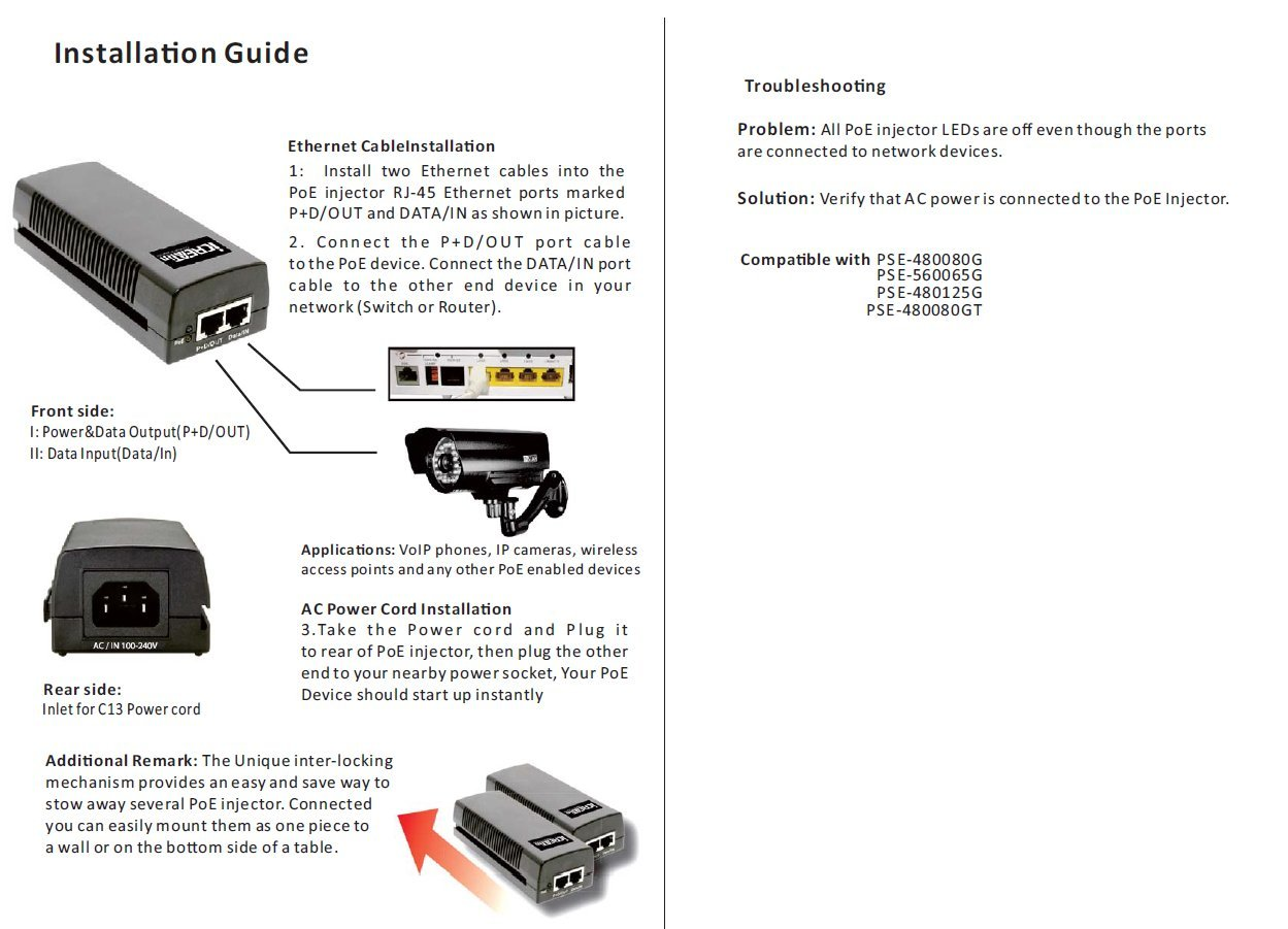Watchguard Poe Injector Wiring Diagram Schematic Diagrams Amazon Com Icreatin 56v 35w Gigabit Adapter Power Ethernet Cable Drawing
