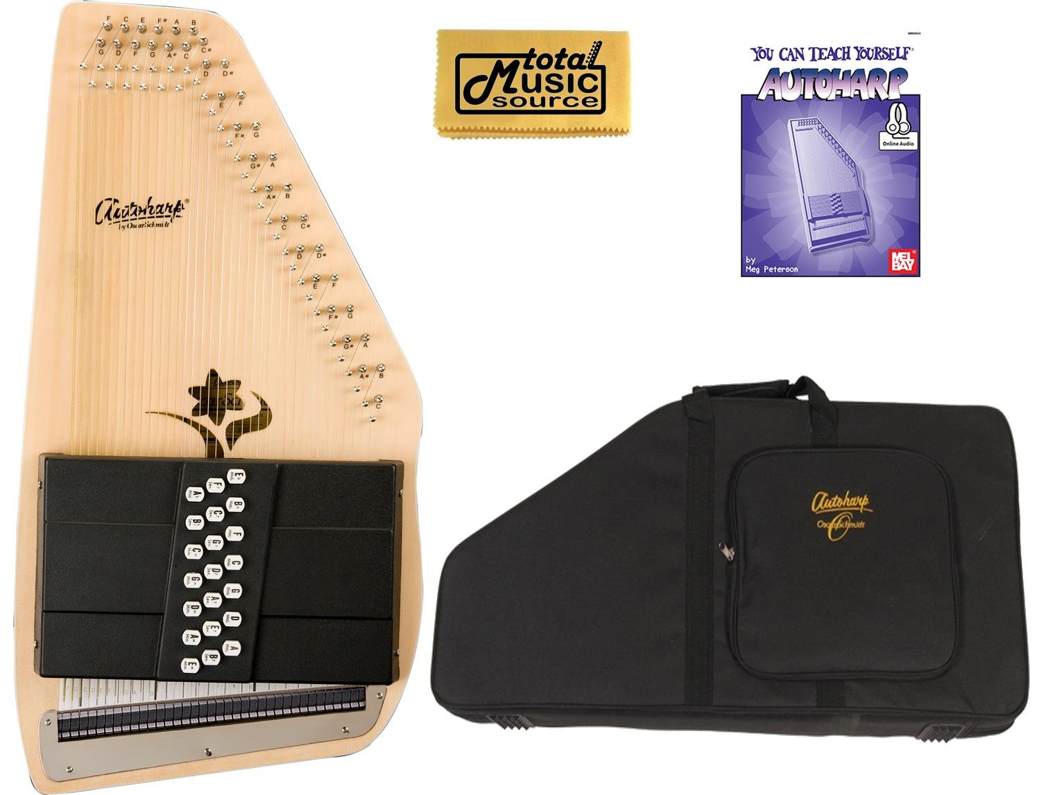 Oscar Schmidt 21 Chord Autoharp, Select Spruce, Flower Shaped Soundhole, OS45CE