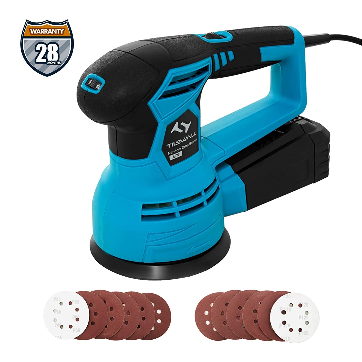 Polishing Wood Orbital Sander High Perfermance Dust Collection System Tilswall 450W 6 Variable Speed 12000RPM 125mm Sander Machine with 12Pcs Sandpapers Less Vibration for Sanding