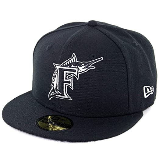 f7d106e5025 New Era 59Fifty  quot Florida Marlins CO BK WH Fitted quot  Hat (Black