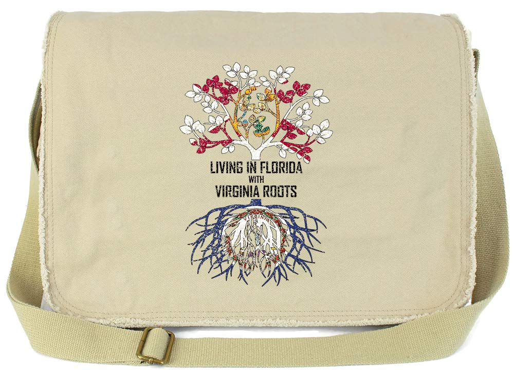Tenacitee Living In Florida with Virginia Roots Grey Brushed Canvas Messenger Bag