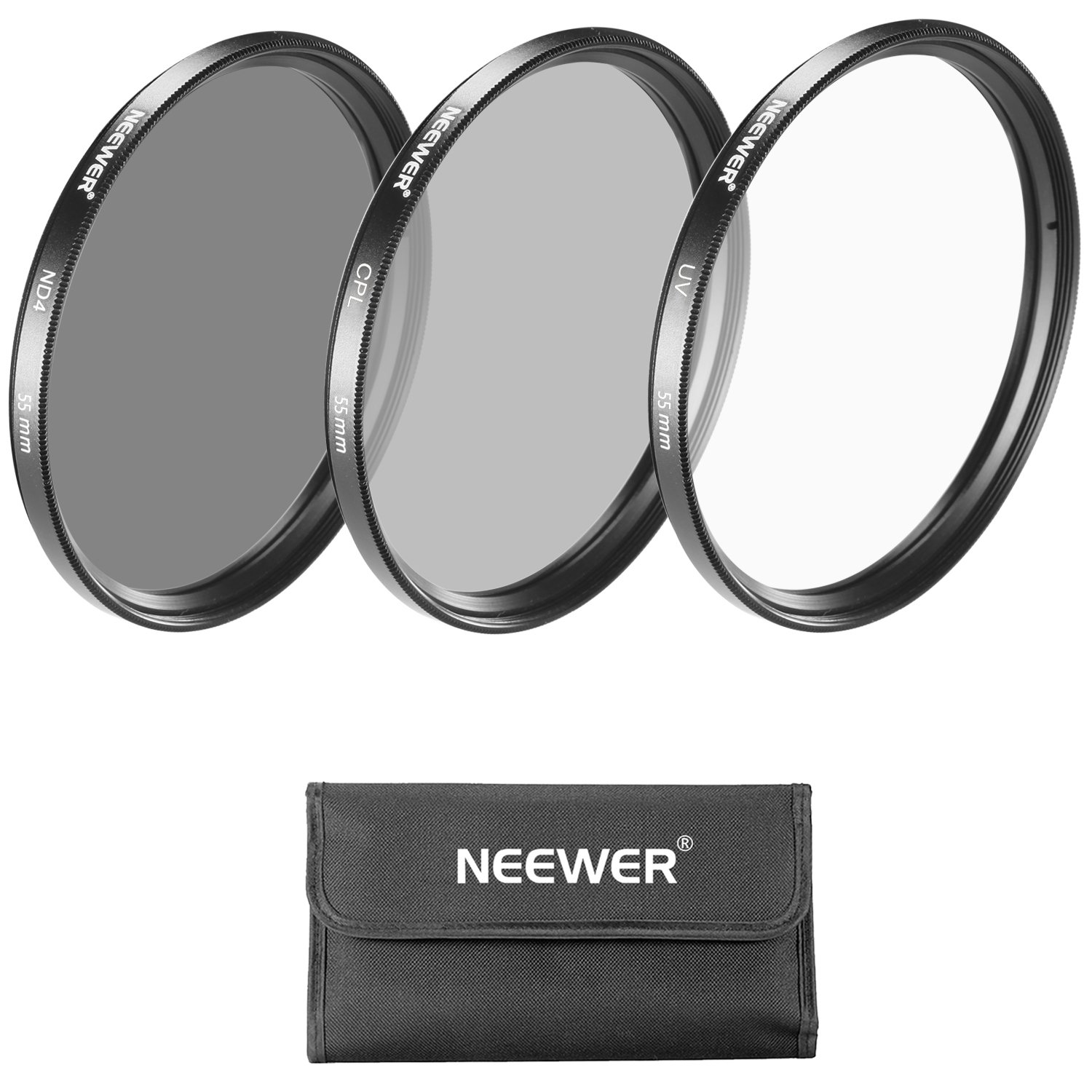 Neewer 55MM Lens Filter Kit: UV Filter + CPL Filter + ND4 Filter + Filter Pouch for Sony Alpha Series DSLR Cameras with 18-55mm, 75-300mm f/4.5-5.6, 50mm f/1.4 Lenses