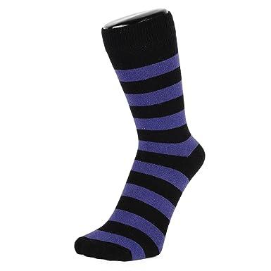 2cbf48a1c0a48 Socquettes mini chaussettes à rayures épaisses noires et bleues marines  (Taille: 40-46): Amazon.fr: Vêtements et accessoires