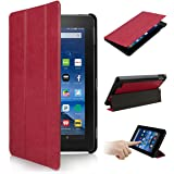 """SOONHAU Ultra Lightweight Slim-shell Stand Leather Smart Case Cover For Amazon Kindle Fire 7"""" Tablet 5th Generation, 2015 Release"""
