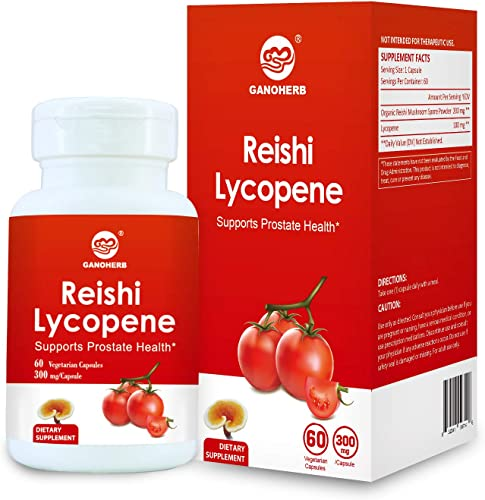 GANOHERB Reishi Lycopene 300Mg 60 Vegan Capsules Non-GMO Gluten Free Natural Tomato with Organic Reishi Mushroom Spore Great for Health.