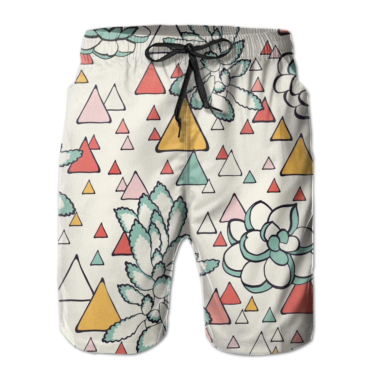 MIGAGA Mens Swim Trunks Succulent and Triangles Yellow Red Pink Surfing Beach Board Shorts Swimwear