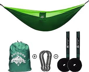 OUTDOOR FREAKZ Outdoor Hängematte bis 300kg und 300 x 200 cm + Karabiner & Schwerlastgurte, ideal für Wandern, Camping und Survival