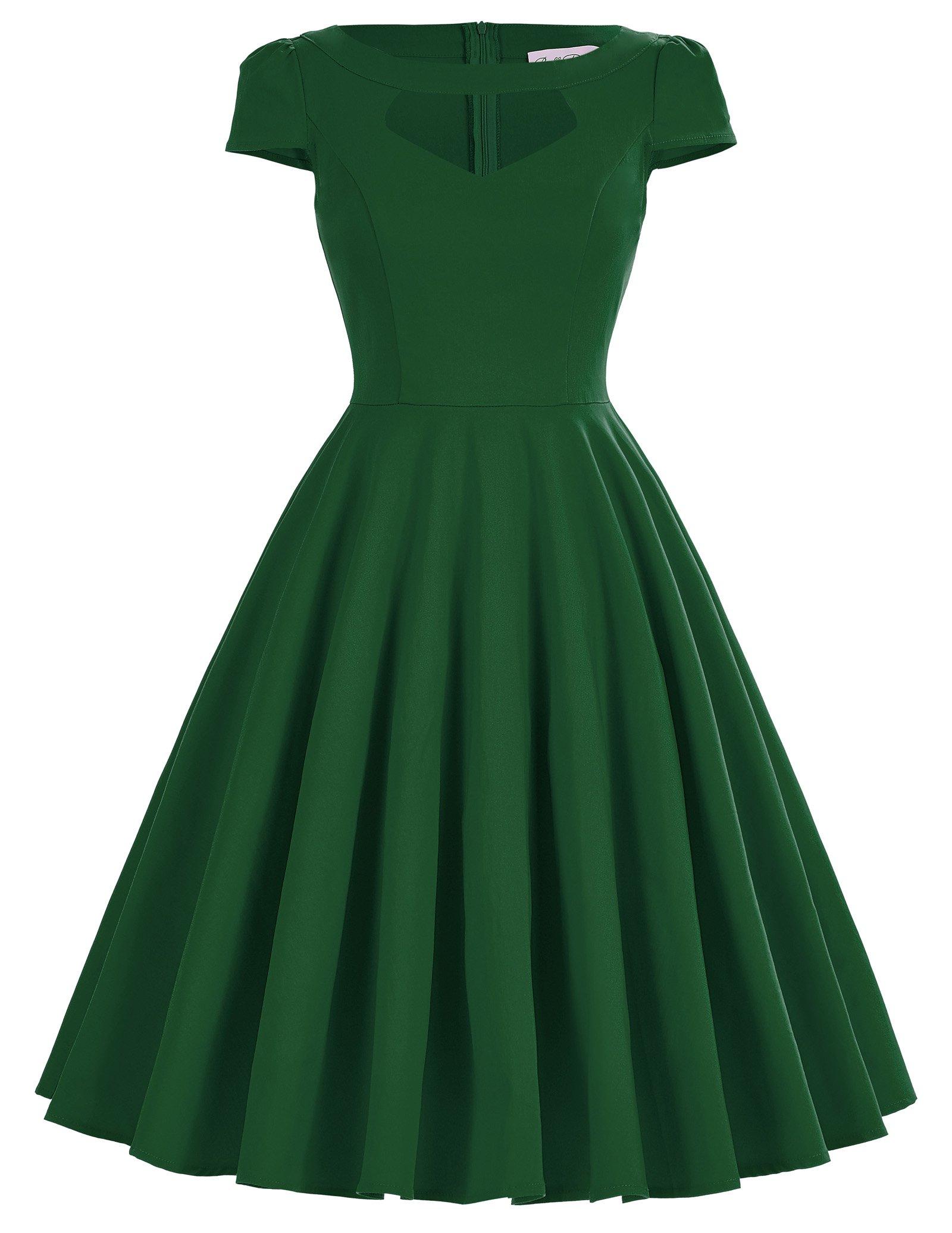 Belle Poque Women's Empaire Waist 40s Style Dresses Dark Green Size L BP0189-3