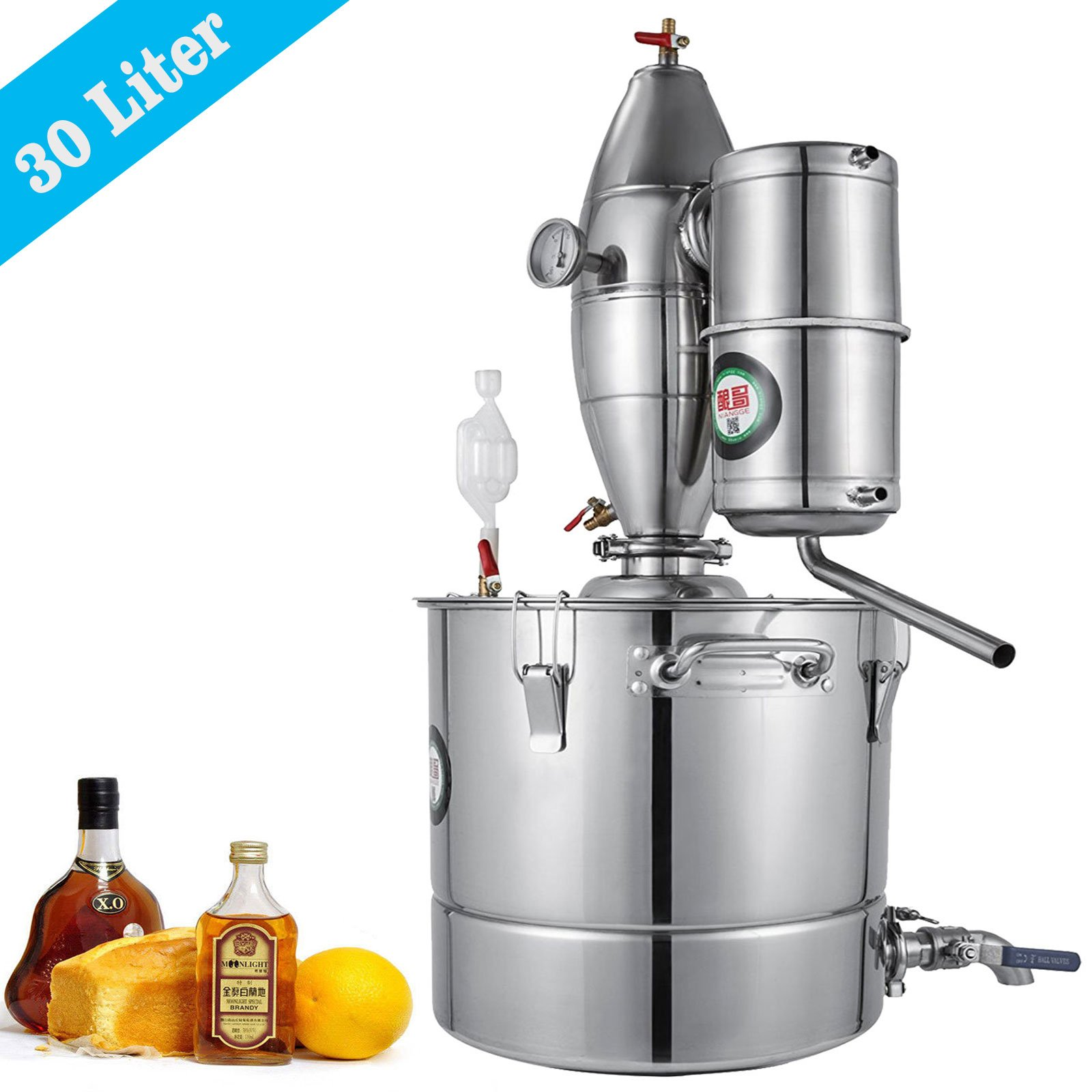 VEVOR 30L 7.9Gal Water Alcohol Distiller 304 Stainless Steel Alcohol Distiller Home Kit Moonshine Wine Making Boiler with Two Thermometers (30L Distiller)