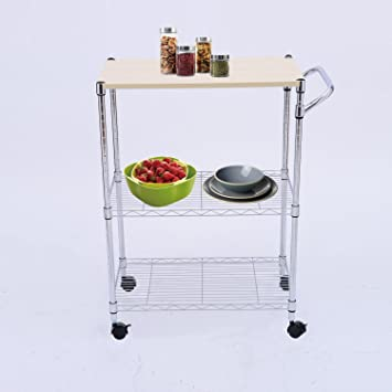 Charming Tenive 24u0026quot; Chrome Kitchen Cart 3 Tier Supreme Cart Metal Utility  Island Rolling Microwave Stand