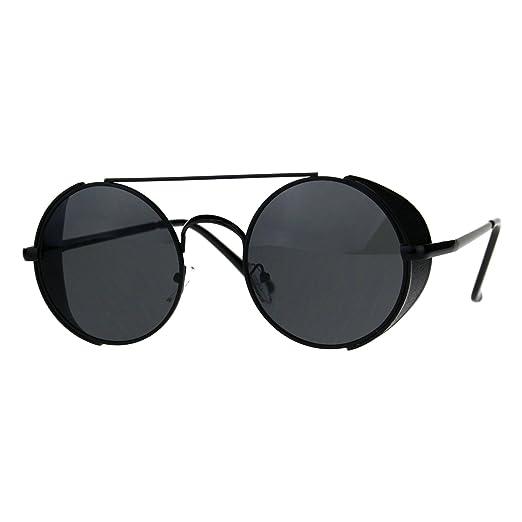 ca8d57c3b404 Mens Round Circle Lens Side Visor Metal Rim Retro Sunglasses All Black
