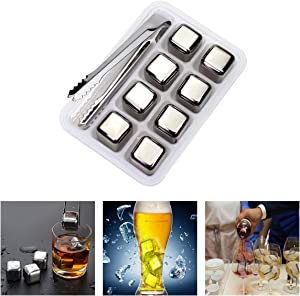 Whiskey Stones Stainless Steel Ice Cubes Reusable Chilling Whiskey Stones Beverage Rocks with Tongs & Freezer Storage Tray for Whiskey Wine Beverage, Gift Sets for Family and Friends (Set of 8)