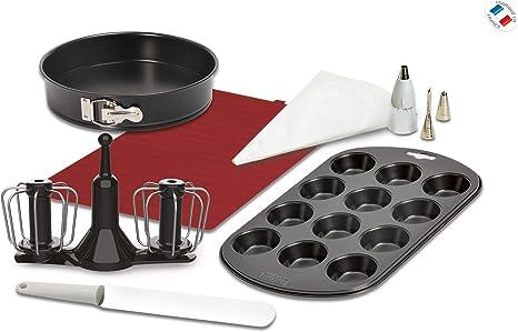 Moulinex XF389010 Accesorios Cuisine Companion, kit repostería, varillas de doble rotación, manga pastelera, espátula, molde 12 muffins, tapete bandeja horno y recetario, molde desmontable 24 cm: Amazon.es: Hogar