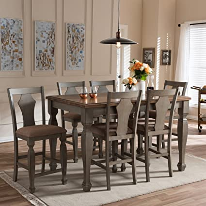 7 piece counter height dining set white breakfast table baxton studio arianna piece counter height dining set amazoncom