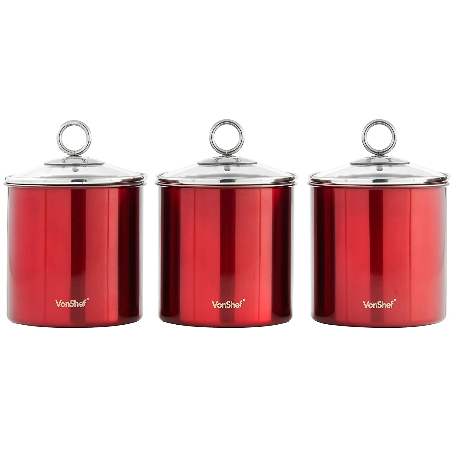 amazon com vonshef set of 3 tea coffee sugar canisters amazon com vonshef set of 3 tea coffee sugar canisters kitchen storage jars with glass lids red stainless steel kitchen dining
