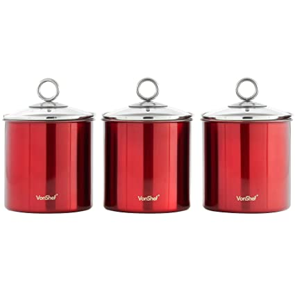 Attirant VonShef Set Of 3 Tea, Coffee And Sugar Canisters/Kitchen Storage Jars With  Glass