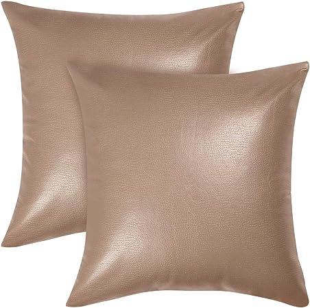 rose Sourcing Map Housse de coussin carr/ée en simili cuir pour canap/é lit 45,7 x 45,7 cm Lot de 2 Imitation cuir