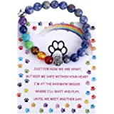 Unijew Pet Memorial Gifts,Rainbow Bridge Bracelet for Beloved Dog Cat,8MM Mixed Color Bead 7 Chakra Pet Memorial…