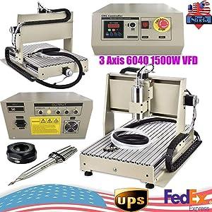 RanBB 1.5KW 3Axis 6040 Engraver Machine, Desktop CNC Router Engraver Engraving Drilling Milling Machine with USB Port