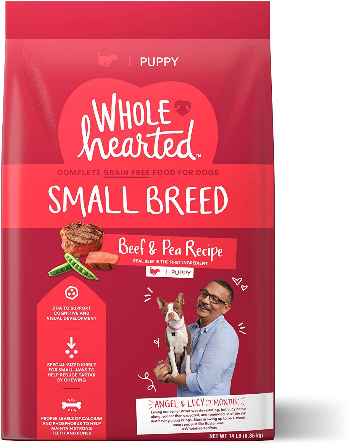 WholeHearted Grain Free Small Breed Beef and Pea Recipe Dry Puppy Food, 14 lbs.