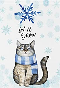 Wamika Winter Garden Flag 12 x 18 Double Sided, Cute Cat Kitten Let Snow Blue Snowflake Welcome Holiday Yard Outdoor House Flags Banner Party Home Decor Christmas Decorations