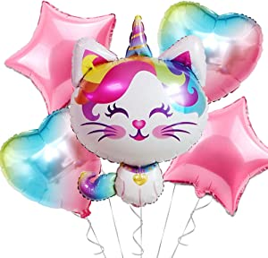 OMG Party Factory - Caticorn Party Supplies Balloon Decorations | Purrfect Birthday Decor for Girls Cat Unicorn Theme | Fancy Rainbow Kitty Balloons for Bday or Baby Shower | Mylar Foil Balloon Set for Kids