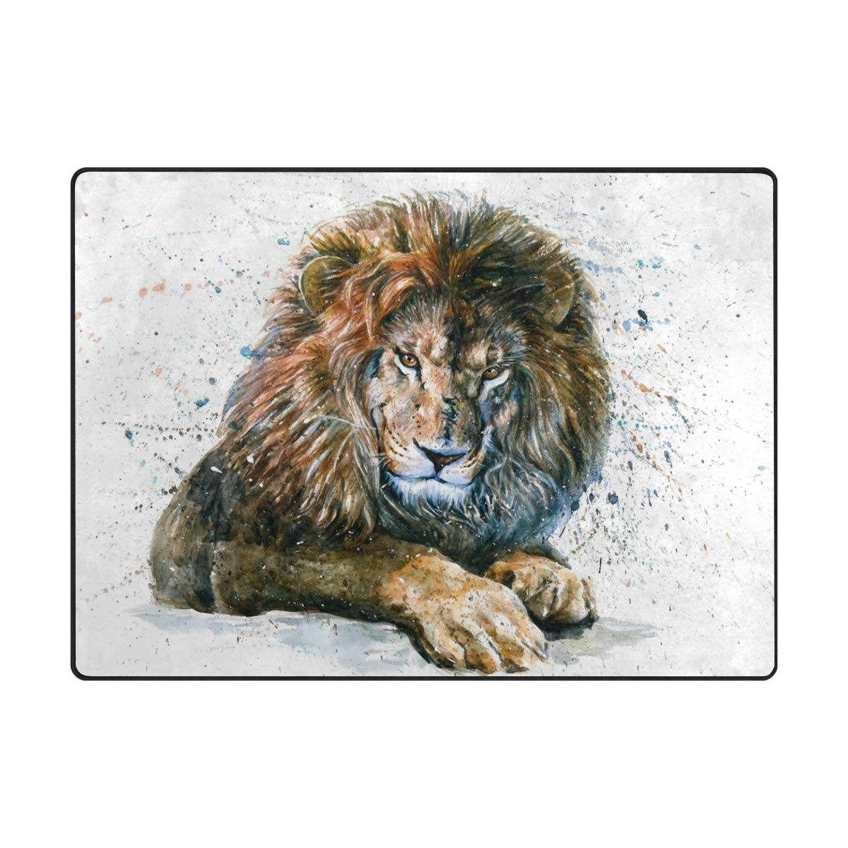 Vantaso Soft Foam Area Rugs Watercolor Lion Non Slip Play Mats for Kids Boys Girls Playing Room Living Room 80x58 inch
