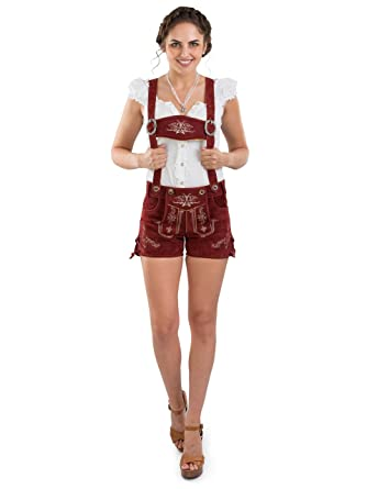 9f27cff50d54d9 Damen Bergrose Lederhose kurz - Trachtenlederhose Ladies Oktoberfest  Hotpants rot (30, red)