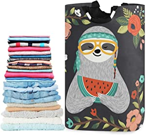 visesunny Collapsible Laundry Basket Sloth with Watermelon Cartoon Animal Large Laundry Hamper with Handle Toys and Clothing Organization for Bathroom, Bedroom, Home, Dorm, Travel