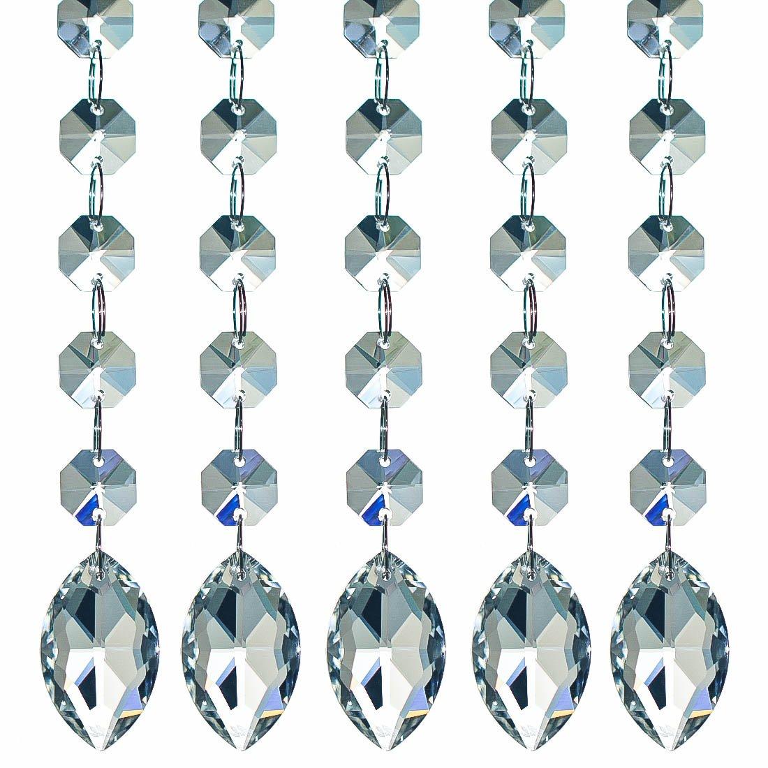 H&D - Set di 10 fili di perline in cristallo K9-cristalli pendenti -Perline con pendenti a prisma per lampadari - 30cm
