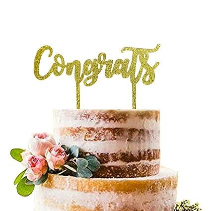 Amazon Com Gold Congrats Cake Topper Acrylic Graduation Cake