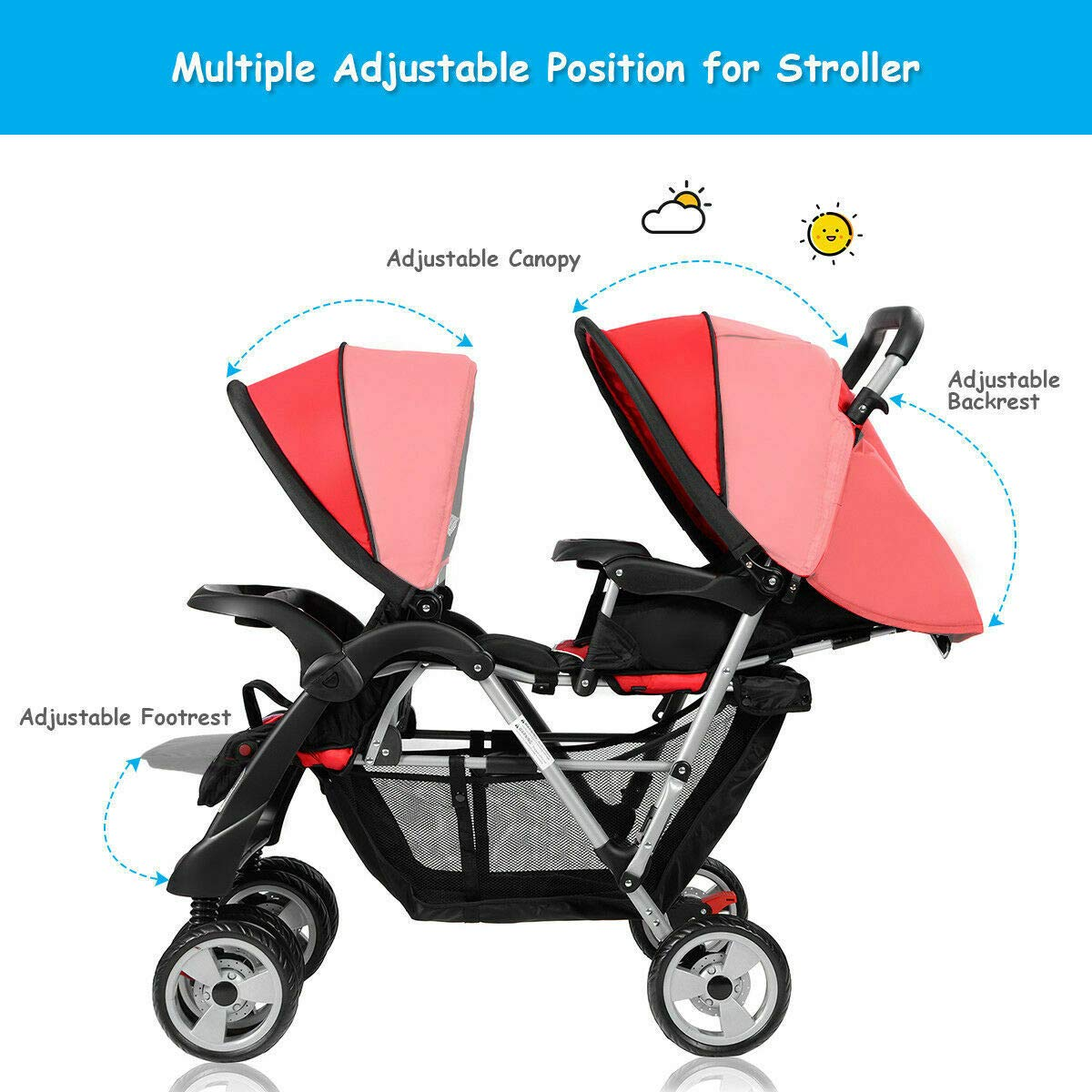 Cozinest Foldable Twin Baby Double Stroller Kids Jogger Travel Infant Pushchair Red by Cozinest (Image #9)
