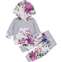 Emmababy Baby Girls' Winter Floral Hoodie Pocket Pants Set Leggings 2 Piece