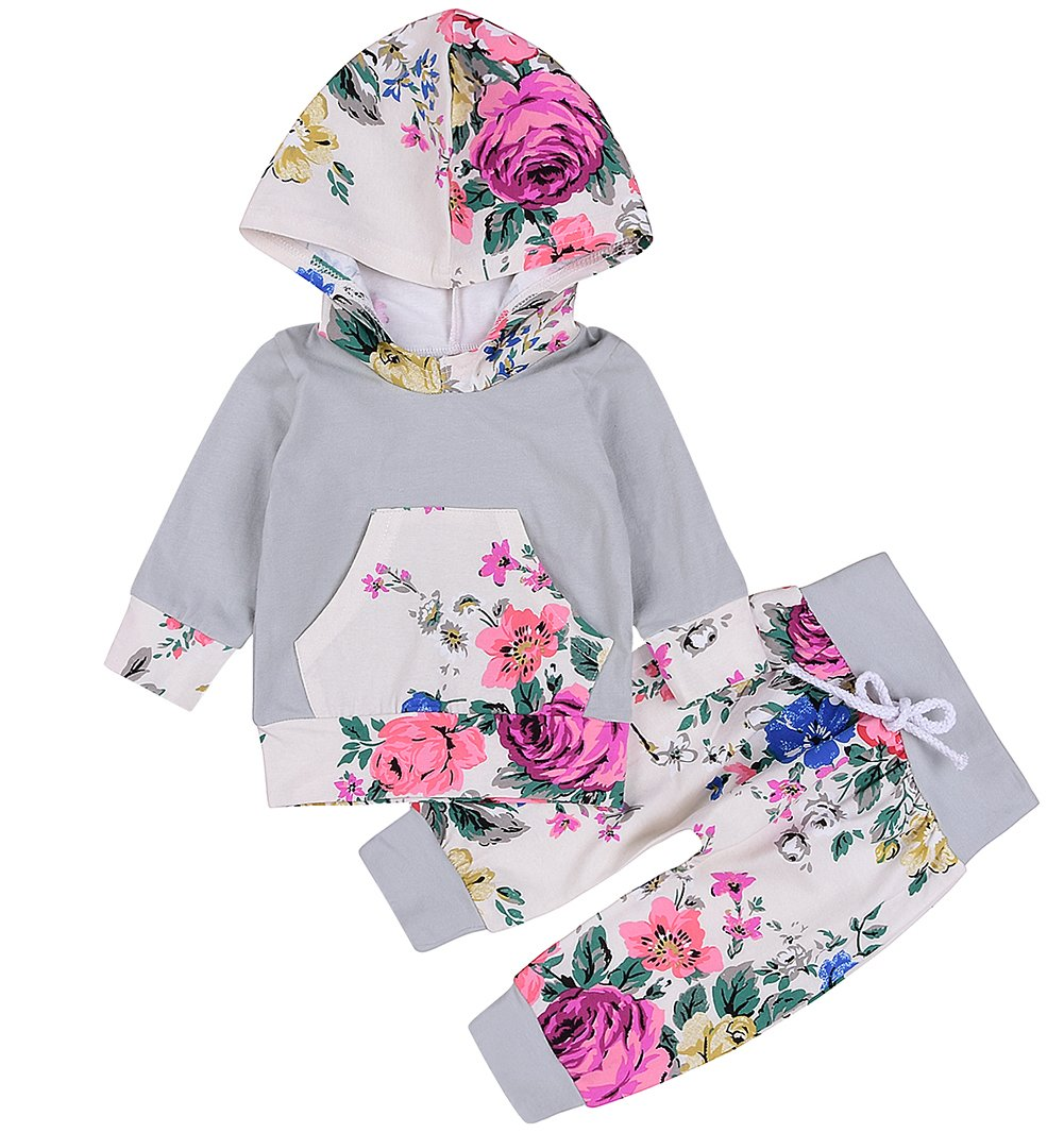 8d48340e0a0f Emmababy Baby Girls Outfit Winter Floral Hoodie with Pocket Pants ...