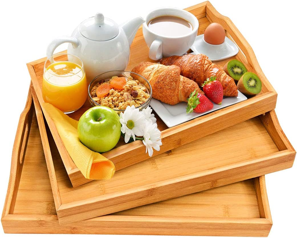 Serving Tray with Handles - Wood Bamboo Trays for Food Breakfast Party,Tea Coffee Table Ottoman Decor Set of 3