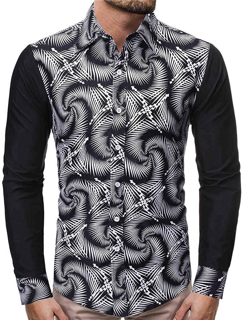 STORTO Mens Printed Pattern T Shirts Splicing Casual Soft Tee Fit Short Sleeve Basic Tops