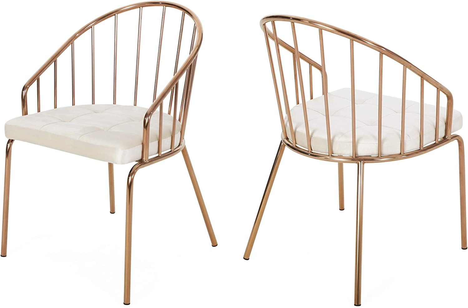 Christopher Knight Home 308296 Marcia Modern Velvet Dining Chair with Stainless Steel Frame (Set or 2), Beige and Rose Gold