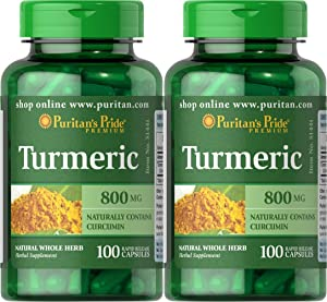 Puritan's Pride 2 Pack of Turmeric 800 mg Puritan's Pride Turmeric 800 mg-100 Capsules
