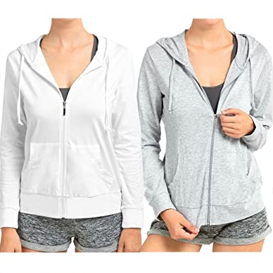 Amazon.com  Sofra Women s Thin Cotton Zip up Hoodie Jacket (sml ae9d72142c
