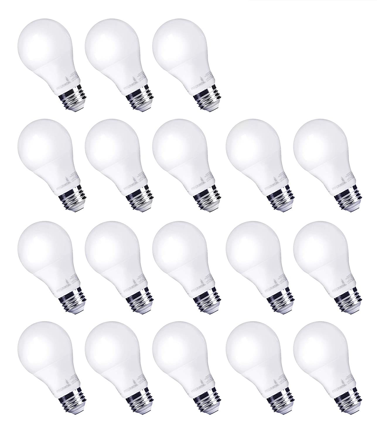 HyperSelect 9W LED Light Bulb A19 - E26 Bulb Non-Dimmable LED Bulb [60W Equivalent], 3000K (Soft White Glow), 820 Lumens, Medium Screw Base, Omnidirectional, UL-Listed - (Pack of 18) Hyperikon Inc.
