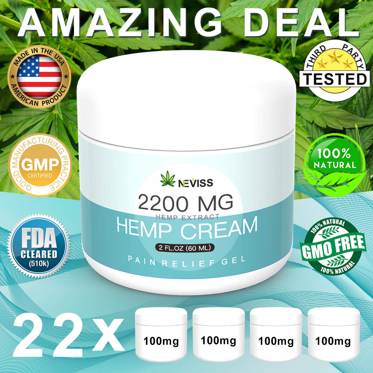 Pain Relief Hemp Cream 2200 MG, Natural Hemp Herbal Extract Cream for Neck Knee Joint Back Ankle Nerves Pain, Premium Hemp Cream for Inflammation & Sore Muscles - Made in USA