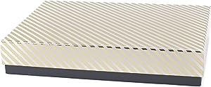 Hallmark Signature Large Gift Box (Gold Stripe) for Birthdays, Anniversaries, Christmas, Hanukkah, Holidays and More