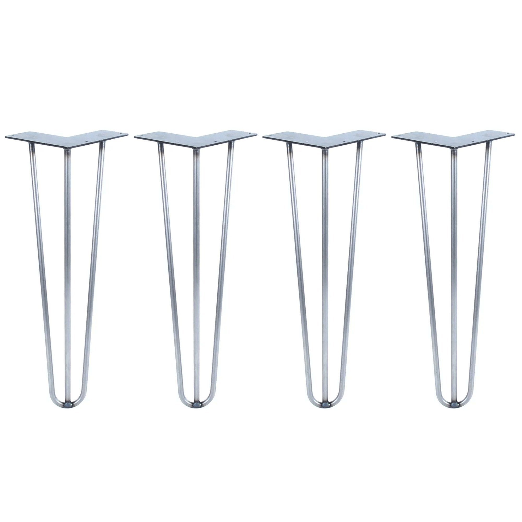 Hairpin Legs Set of 4 - Cold Rolled Steel - Raw and Color Available - Made in The USA (20'' Tall, 3/8'' Diameter - Raw Steel- Shipped as Set of 4 Legs)